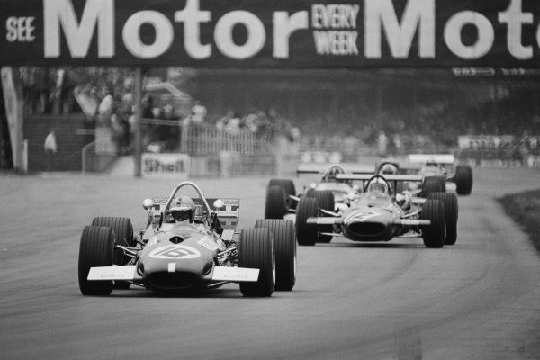 SILVERSTONE, UNITED KINGDOM - JULY 20: Piers Courage, Brabham BT26A Ford, leads Pedro Rodríguez, Ferrari 312 during the British GP at Silverstone on July 20, 1969 in Silverstone, United Kingdom. (Photo by Rainer Schlegelmilch)
